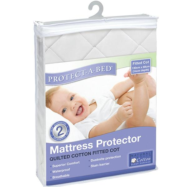 Protect A Bed Cot USA Std Cotton Quilted Fitted