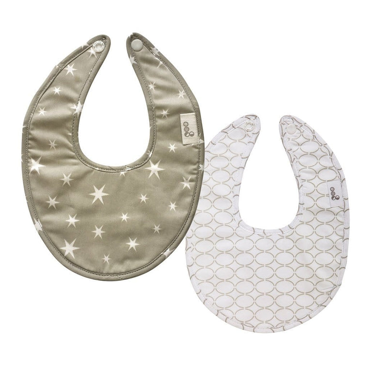 Goo Organic Cotton Dribble Bib 2 Pack - Starry Night Grey / Clear Skies Grey