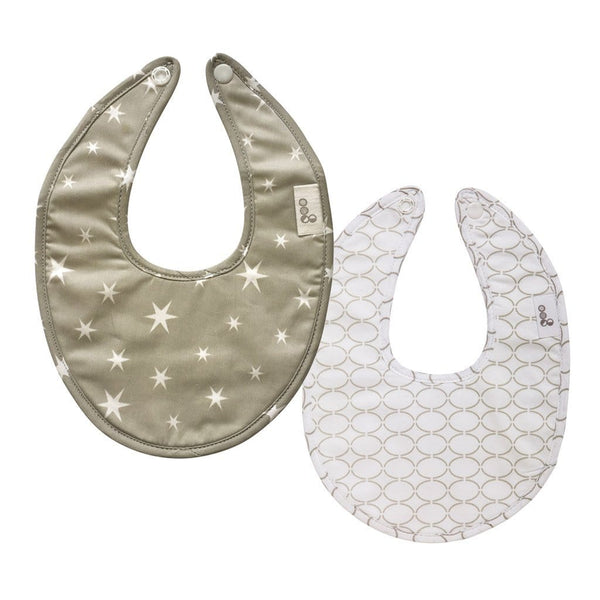 Goo Organic Cotton Dribble Bib 2 Pack - Starry Night Grey / Clear Skies Grey Nursing and Feeding Goo