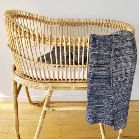 Cotton Knitted Cot Blanket : Ink Blue Marle