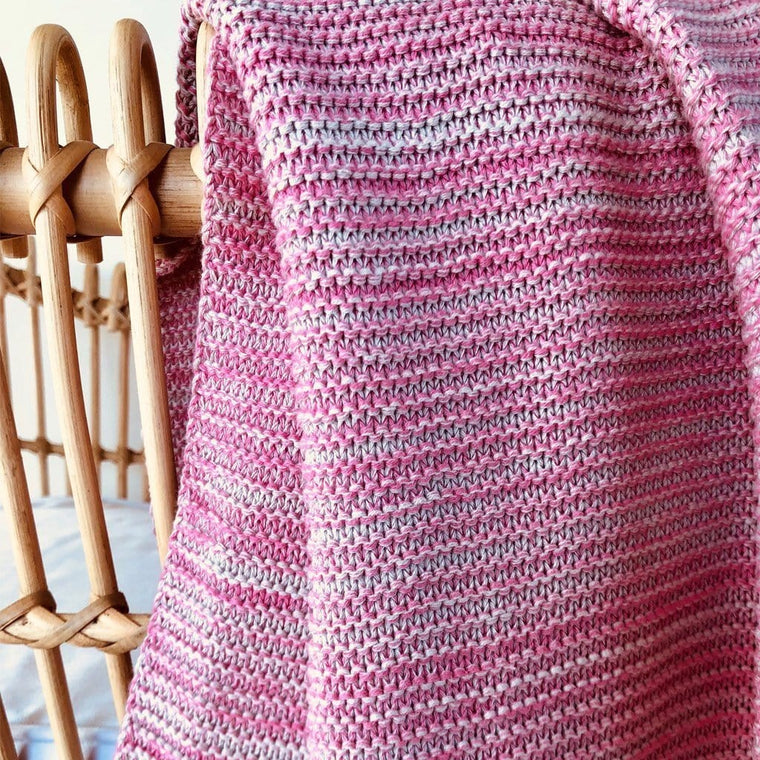 Cotton Knitted Cot Blanket : Watermelon Pink Marle