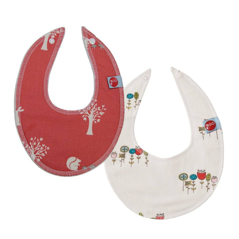 Goo Organic Cotton Dribble Bib 2 Pack - Field Friends Coral & Wildflowers