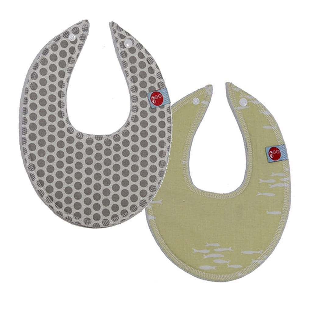 Goo Organic Cotton Dribble Bib 2 Pack - Honeycomb Grey & Newschool Nursing and Feeding Goo