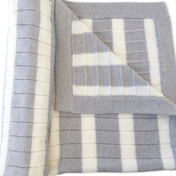 Merino Cot Blanket - Stripe Blanket Ecosprout