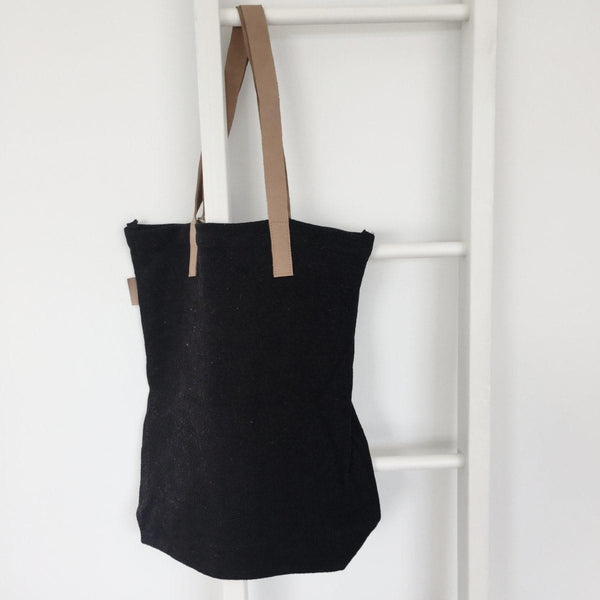 Leather Handle Tote : Black Bag Apple Green Duck
