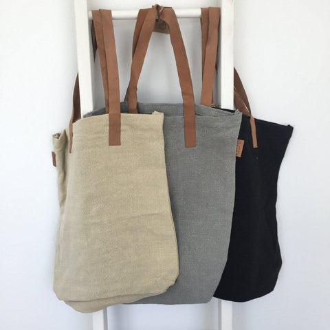 Leather Handle Tote : Stone Bag Apple Green Duck
