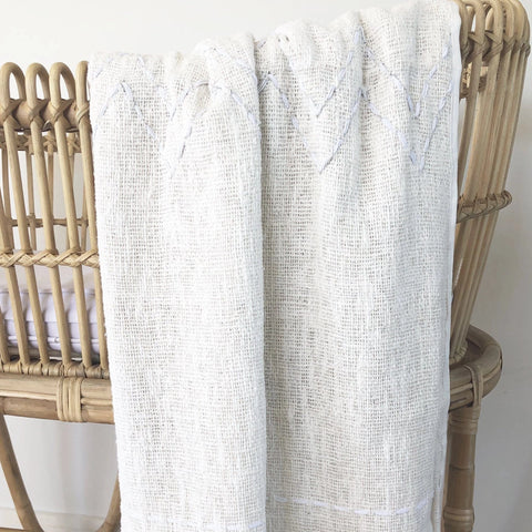 Handwoven Cotton Blanket : Natural