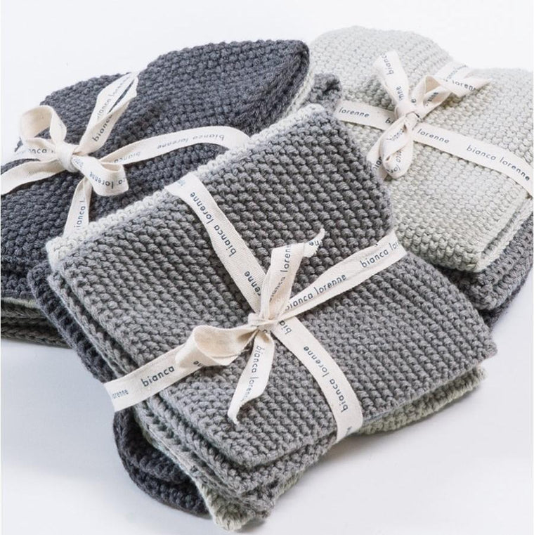 Bianca Lorenne Lavette Washcloths (Set of 3): Grey