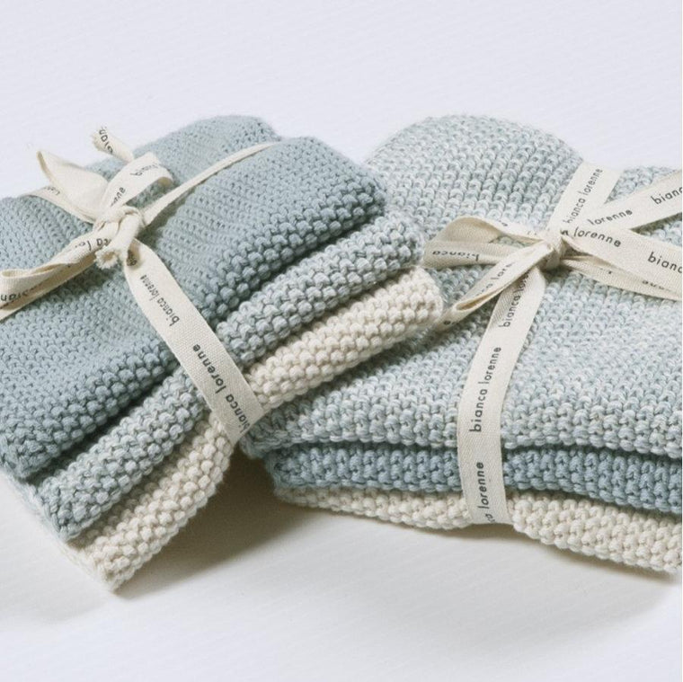 Bianca Lorenne Lavette Washcloths (Set of 3): Duck Egg