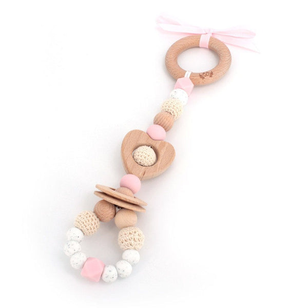 2-IN-1 Baby Gym Toy : Love Pale Pink Teether Lluie