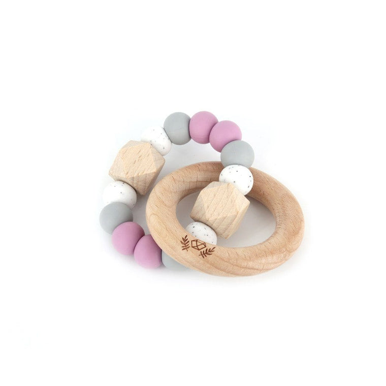 Hexx Teething Rattle : Dusty Mauve