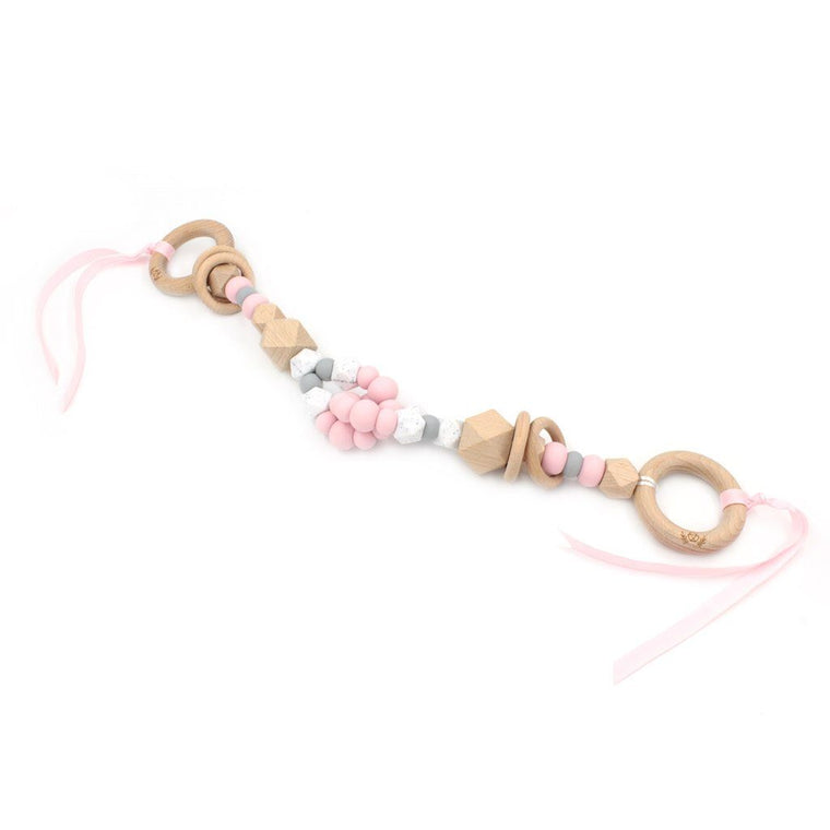 Interlock Teething Pram Garland : Sweet Pink