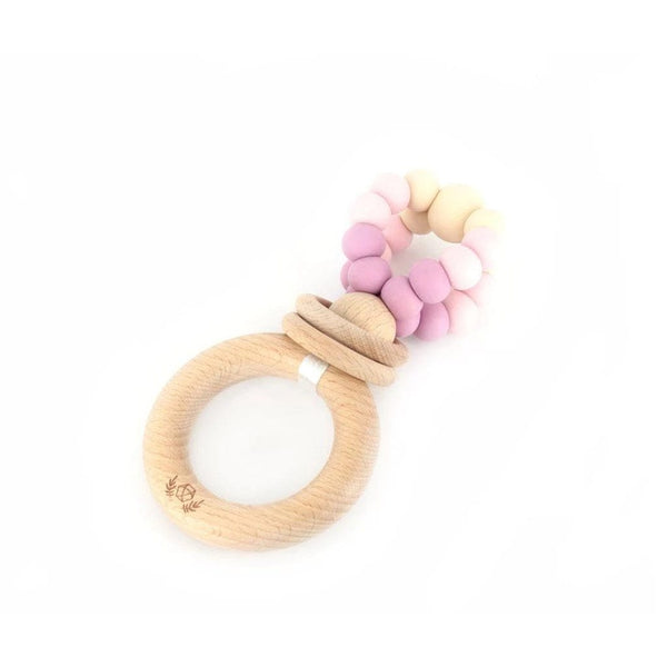 Ring Pop Teething Rattle™ : Dusty Mauve Teether Lluie