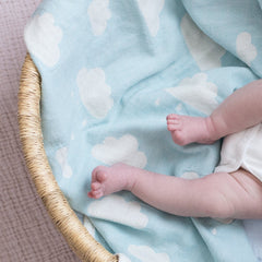 Cotton Bassinet Blanket : Clouds Mint Blanket North Star Baby