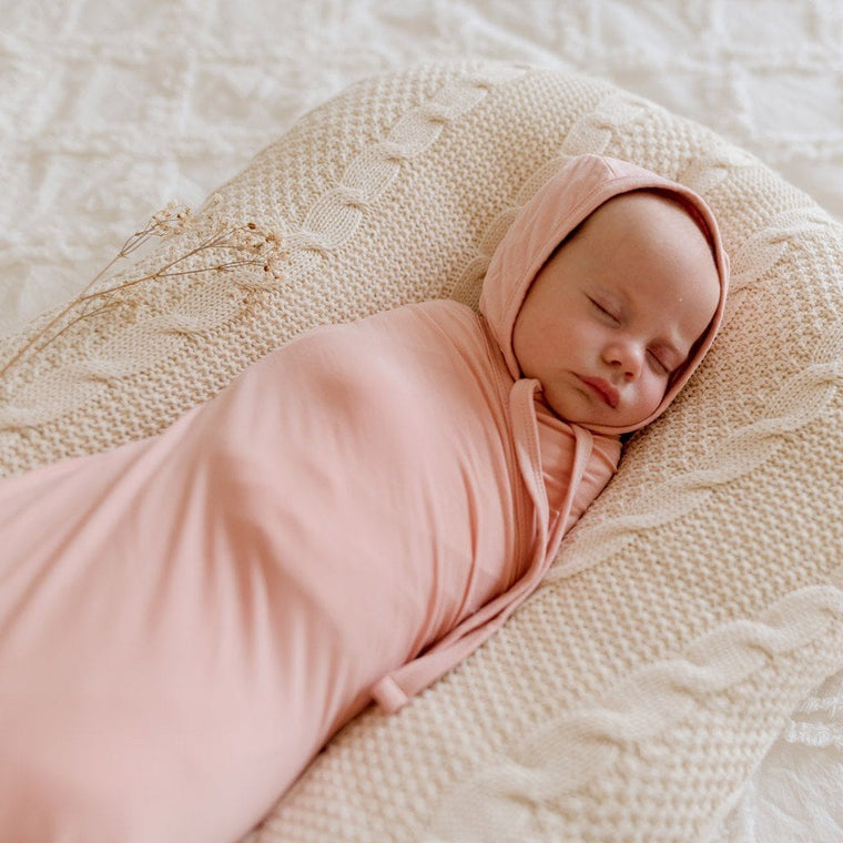 Bamboo Jersey Baby Bonnet : Marshmallow Pink