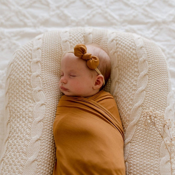 Stretchy Headband with Jersey Bow : Desert Bronze Baby Accessory Luna's Treasures