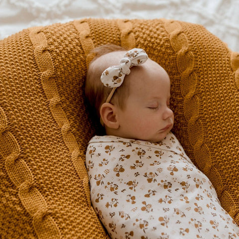 Stretchy Headband with Jersey Bow : Desert Daisy Baby Accessory Luna's Treasures