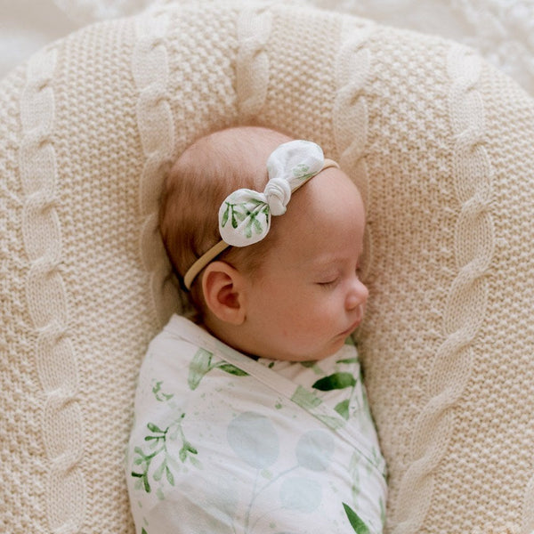 Stretchy Headband with Jersey Bow : Evergreen Baby Accessory Luna's Treasures