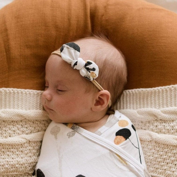 Stretchy Headband with Jersey Bow : Golden Gum Baby Accessory Luna's Treasures