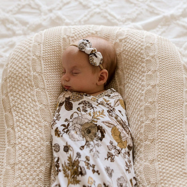 Stretchy Headband with Jersey Bow : Goldie Blooms Baby Accessory Luna's Treasures