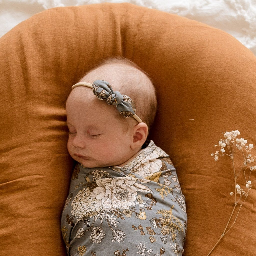 Stretchy Headband with Jersey Bow : Indigo Blooms Baby Accessory Luna's Treasures