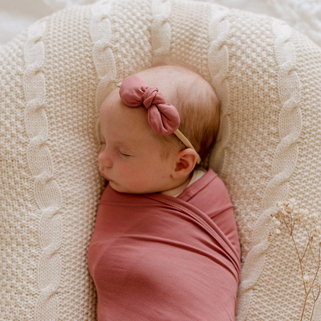 Stretchy Headband with Jersey Bow : Mauve Rose Baby Accessory Luna's Treasures
