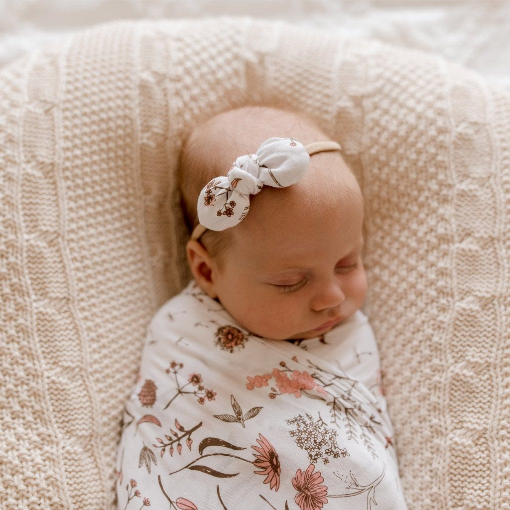 Stretchy Headband with Jersey Bow : Wild Meadow Pink Petal Baby Accessory Luna's Treasures