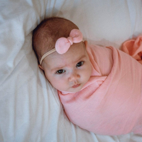 Stretchy Headband with Muslin Bow : Marshmallow Pink Baby Accessory Luna's Treasures