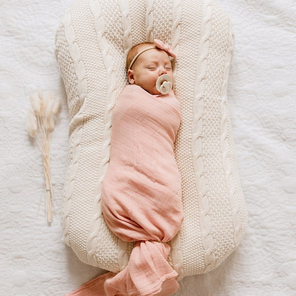 Muslin Bamboo Cotton Wrap : Marshmallow Pink Wraps Luna's Treasures