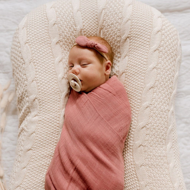 Muslin Bamboo Cotton Wrap : Mauve Rose