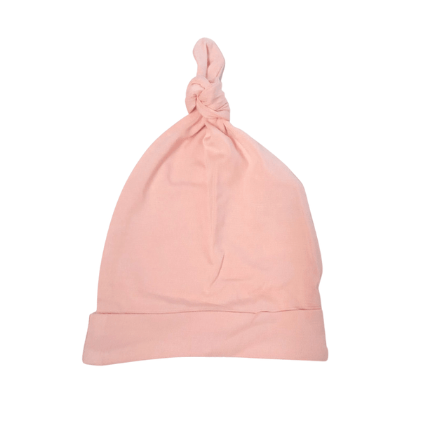 Bamboo Jersey Knotted Beanie : Marshmallow Pink Baby Accessory Luna's Treasures
