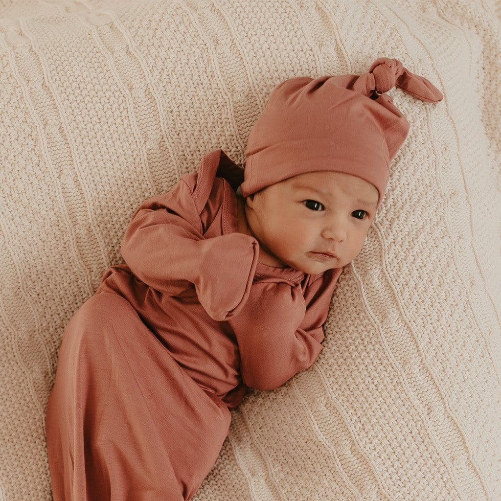 Bamboo Jersey Knotted Beanie : Mauve Rose Baby Accessory Luna's Treasures