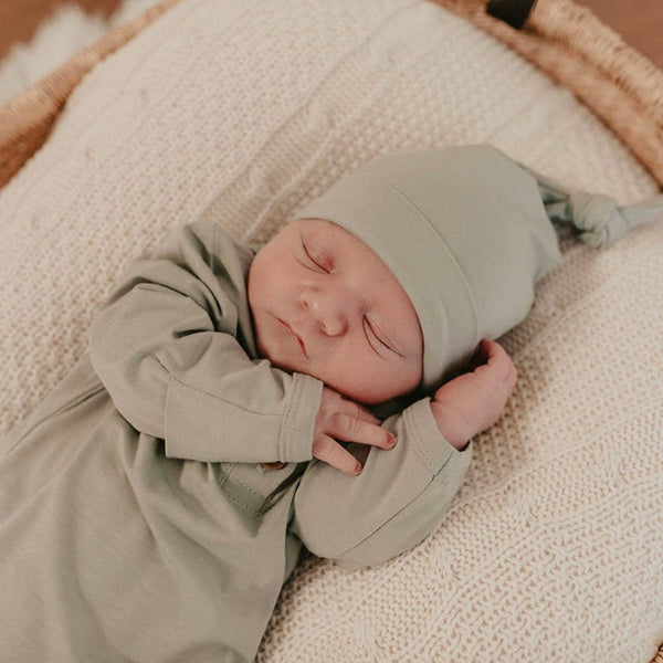 Bamboo Jersey Knotted Beanie : Soft Sage Baby Accessory Luna's Treasures