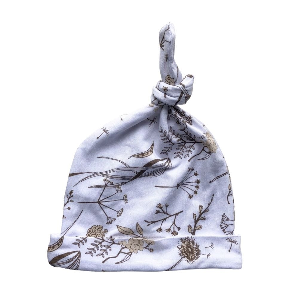 Bamboo Jersey Knotted Beanie : Wild Meadow Neutral Petals Baby Accessory Luna's Treasures