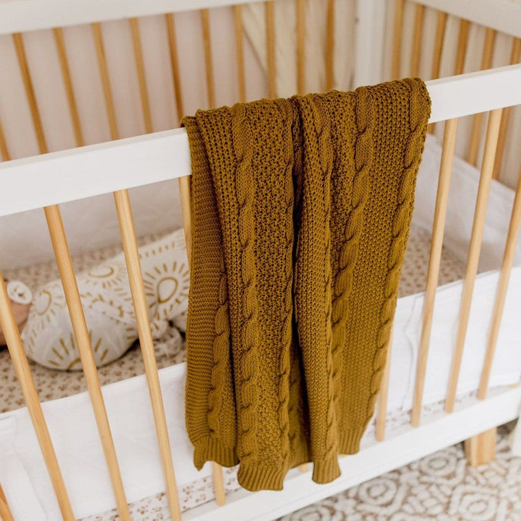 Cable Knit Cotton Blanket : Fudge