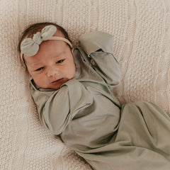 Elastic Hem Newborn Gown : Soft Sage Luna's Treasures