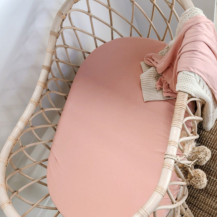 Bamboo Jersey Fitted Bassinet Sheet : Marshmallow Pink