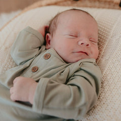 Knotted Hem Newborn Gown : Soft Sage Luna's Treasures