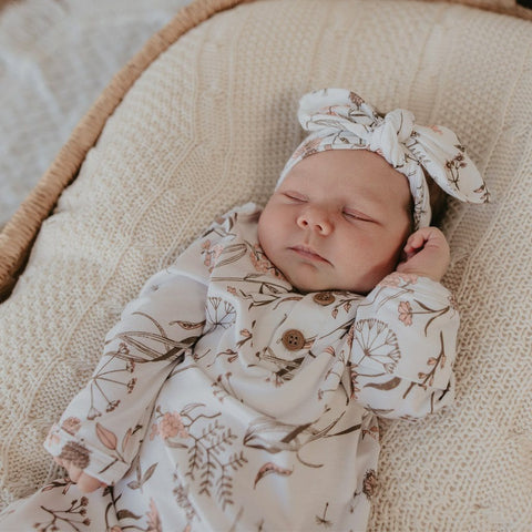 Knotted Hem Newborn Gown : Wild Meadow Pink Luna's Treasures