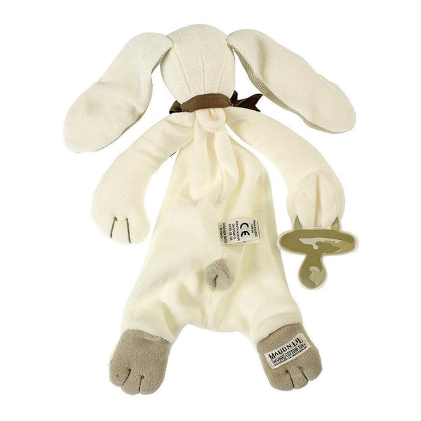 MaudnLil Organic Cotton Baby Comforter - Ears the Bunny Grey and White - Unboxed back view