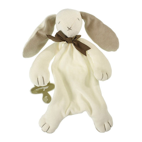 MaudnLil Organic Cotton Baby Comforter - Ears the Bunny Grey and White with Baby silhouette