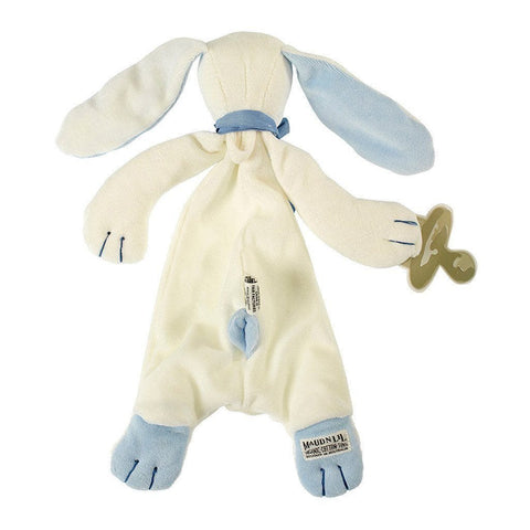 MaudnLil Organic Cotton Baby Comforter - Oscar the Bunny Blue and White with Baby Silhouette