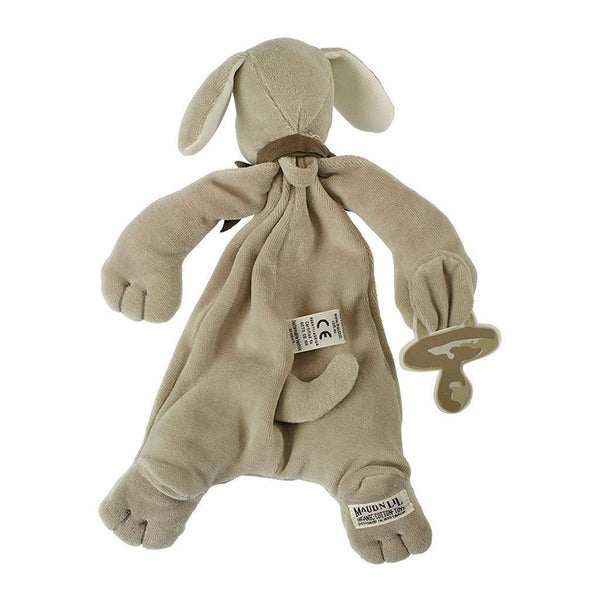 MaudnLil Organic Cotton Baby Comforter - Paws the Puppy Grey Back
