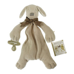 MaudnLil Organic Cotton Baby Comforter - Paws the Puppy Grey Front