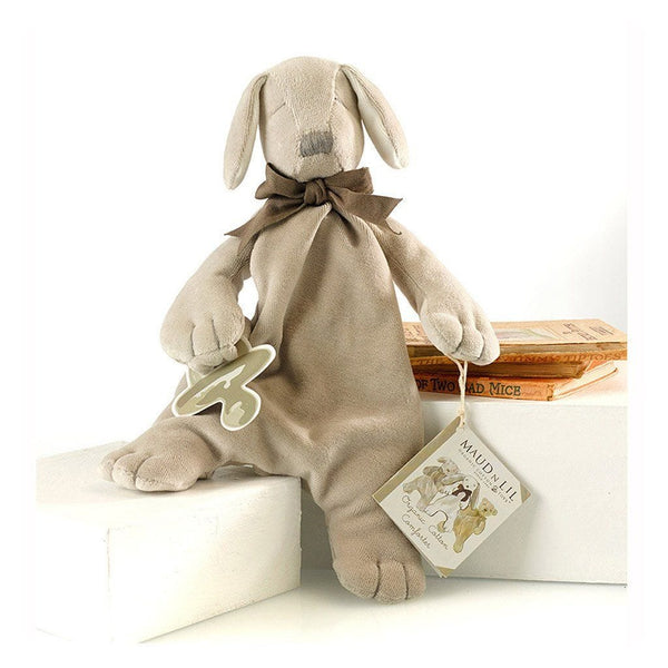 MaudnLil Organic Cotton Baby Comforter - Paws the Puppy Grey posing on step