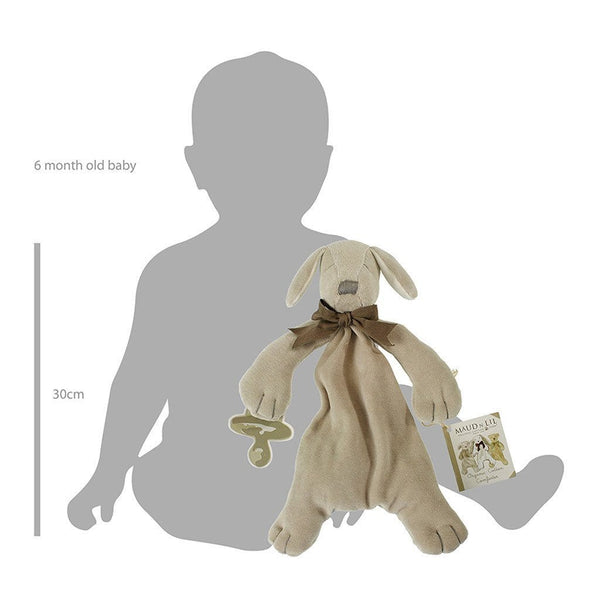 MaudnLil Organic Cotton Baby Comforter - Paws the Puppy Grey view with baby silhouette