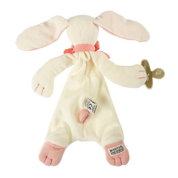MaudnLil Organic Cotton Baby Comforter - Rose the Bunny Pink and White, back view