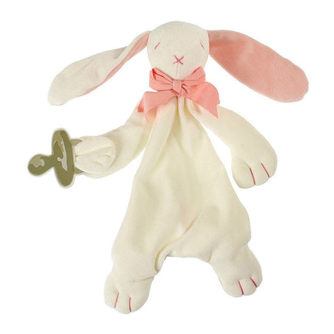 MaudnLil Organic Cotton Baby Comforter - Rose the Bunny Pink and White, view with Baby silhouette
