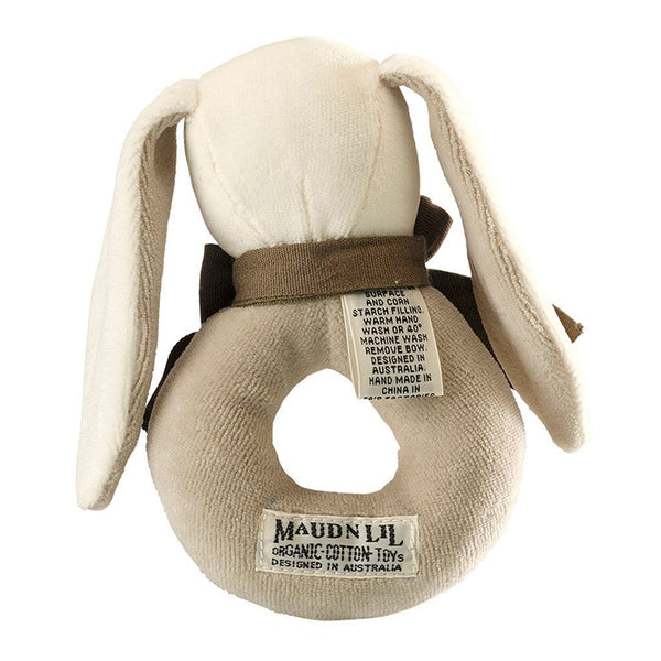 Maud n Lil Organic Baby Ring Rattle (Organic) - Ears the Grey Bunny - Ecosprout - New Zealand