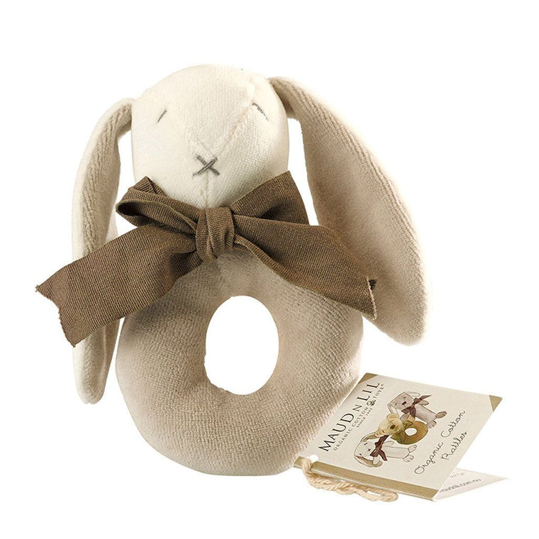 Maud n Lil Organic Baby Ring Rattle (Organic) - Ears the Grey Bunny